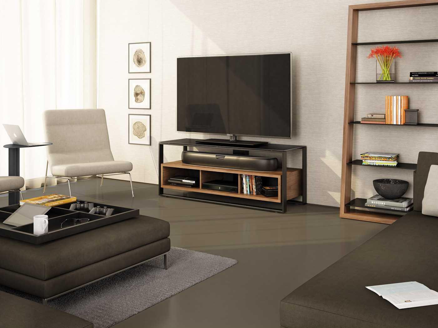 BDI Eileen 34L x 74H Natural Walnut Leaning Shelf Bookcase | BDI5156WL