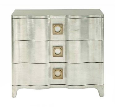 Bernhardt Salon Silver Leaf 3 Drawers Nightstand