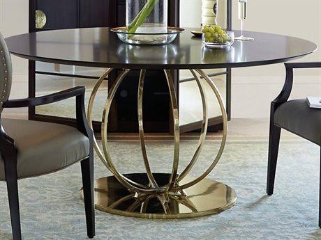 Bernhardt Jet Set Caviar / Brass 60'' Wide Round Dining Table BH356772