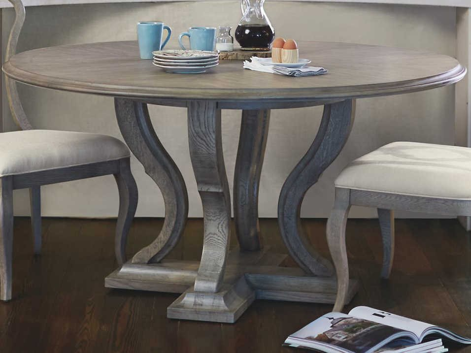 Bernhardt Marquesa Gray Cashmere 60 Wide Round Dining Table