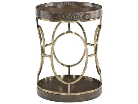 Bernhardt Clarendon Arabica / Burnished Brass 18'' Wide Round Drum Table