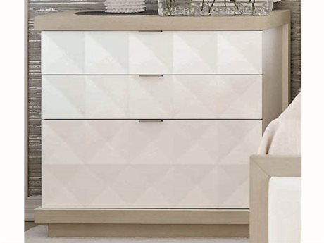 Bernhardt Axiom Linear Gray / White 3 Drawers Nightstand BH381236