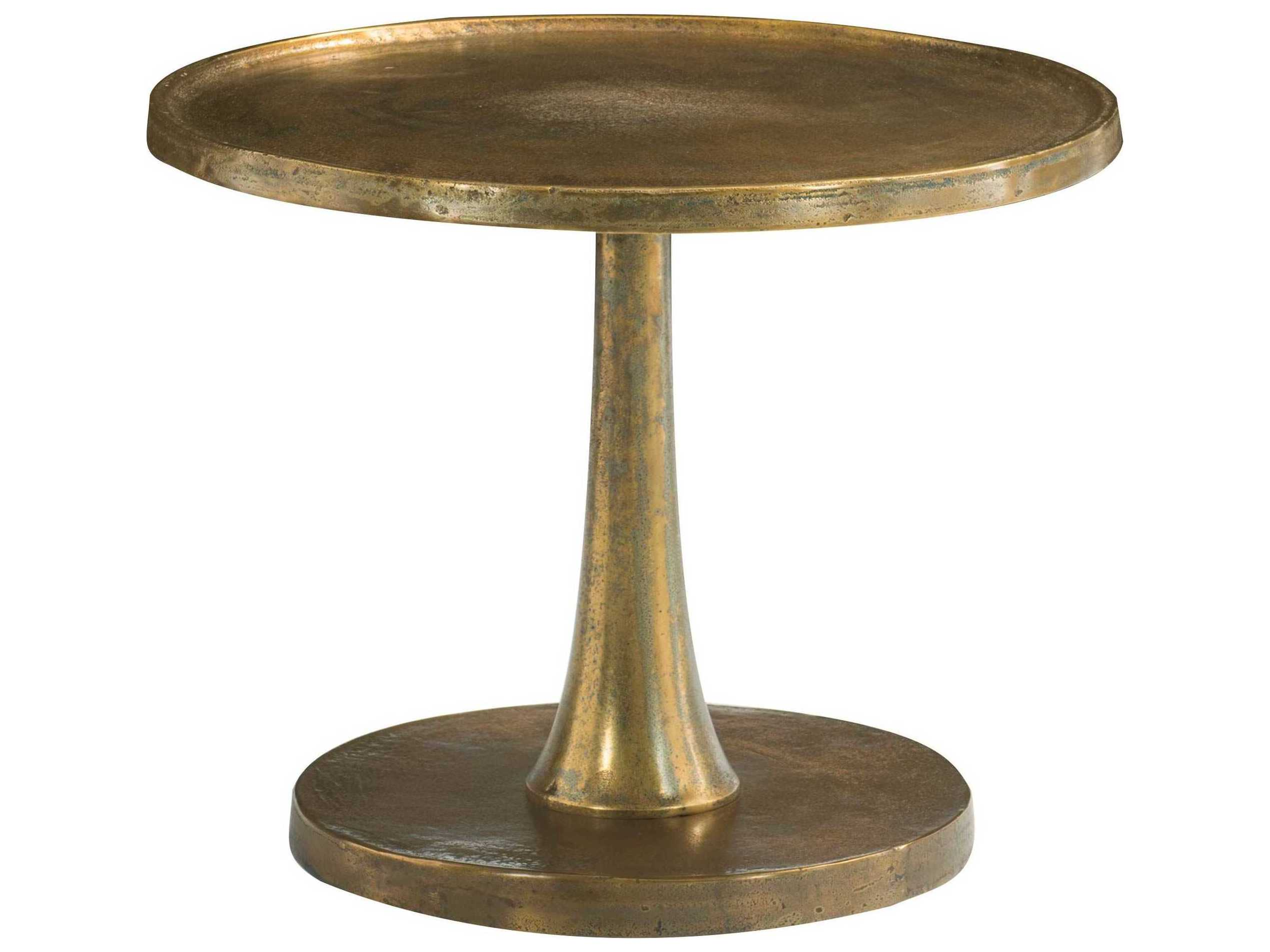 Bernhardt Benson Vintage Brass 27 Wide Round Pedestal Table Bh438125