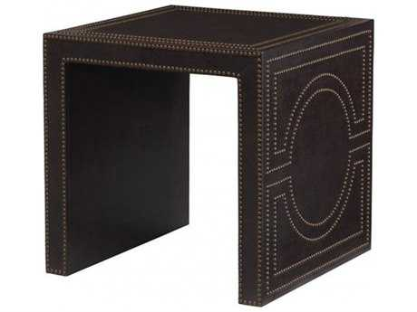 Bernhardt Merton Vienna Walnut Leather 26'' Wide Square End Table