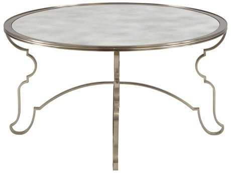 Bernhardt Laurel Stainless Steel with Antique Mirror 36'' Wide Round Coffee Table