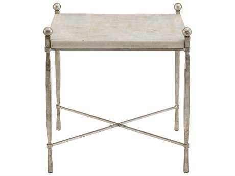 Bernhardt Clarion White & Champagne Silver 25''L x 29''W Rectangular End Table