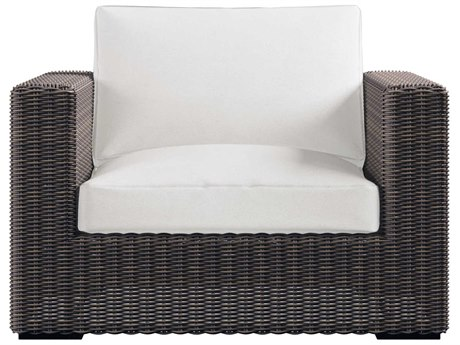 Bernhardt Exteriors Rockport Gray / Raven Fabric Wicker Cushion Capri Lounge Chair PatioLiving