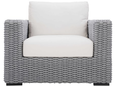 Bernhardt Exteriors Mist Gray / Raven Fabric Wicker Cushion Capri Lounge Chair PatioLiving