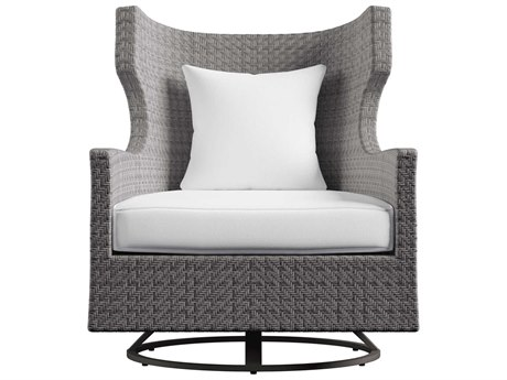 Bernhardt Exteriors Pewter Gray / Graphite Fabric Wicker Cushion Captiva Lounge Chair PatioLiving