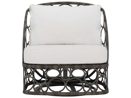 Bernhardt Exteriors Peppercorn Wicker Cushion Bali Swivel Lounge Chair PatioLiving
