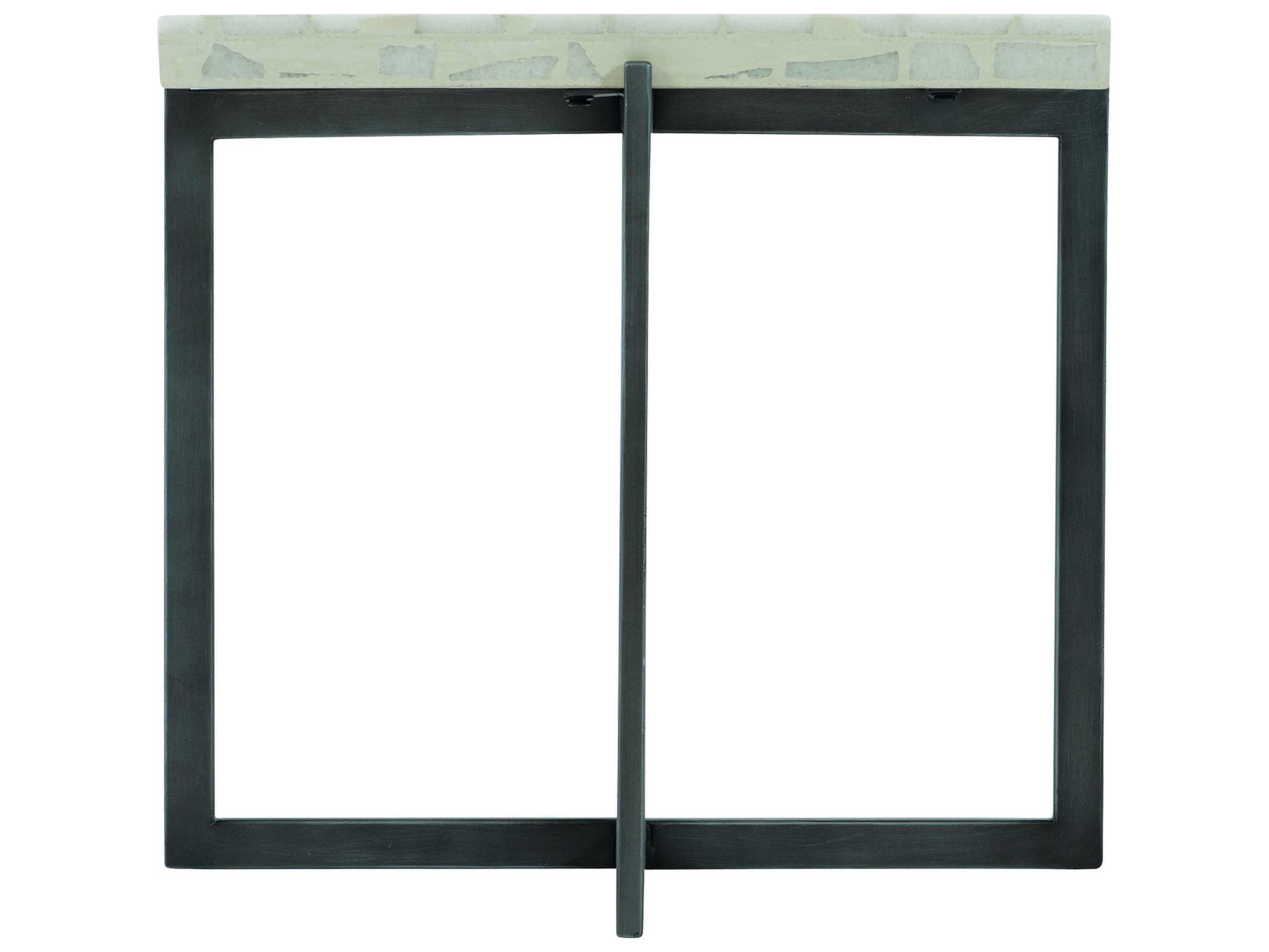 Bernhardt Exteriors Flint Gray Terrazzo 22 Wide Square Faux Stone Steel Stillwater End Table Bhex01009