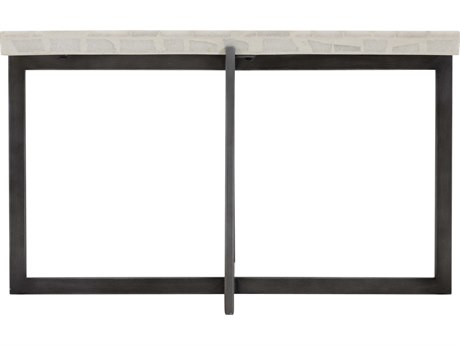 Bernhardt Exteriors Flint Gray / Terrazzo 31'' Wide Rectangular Faux Stone Steel Stillwater Coffee Table PatioLiving