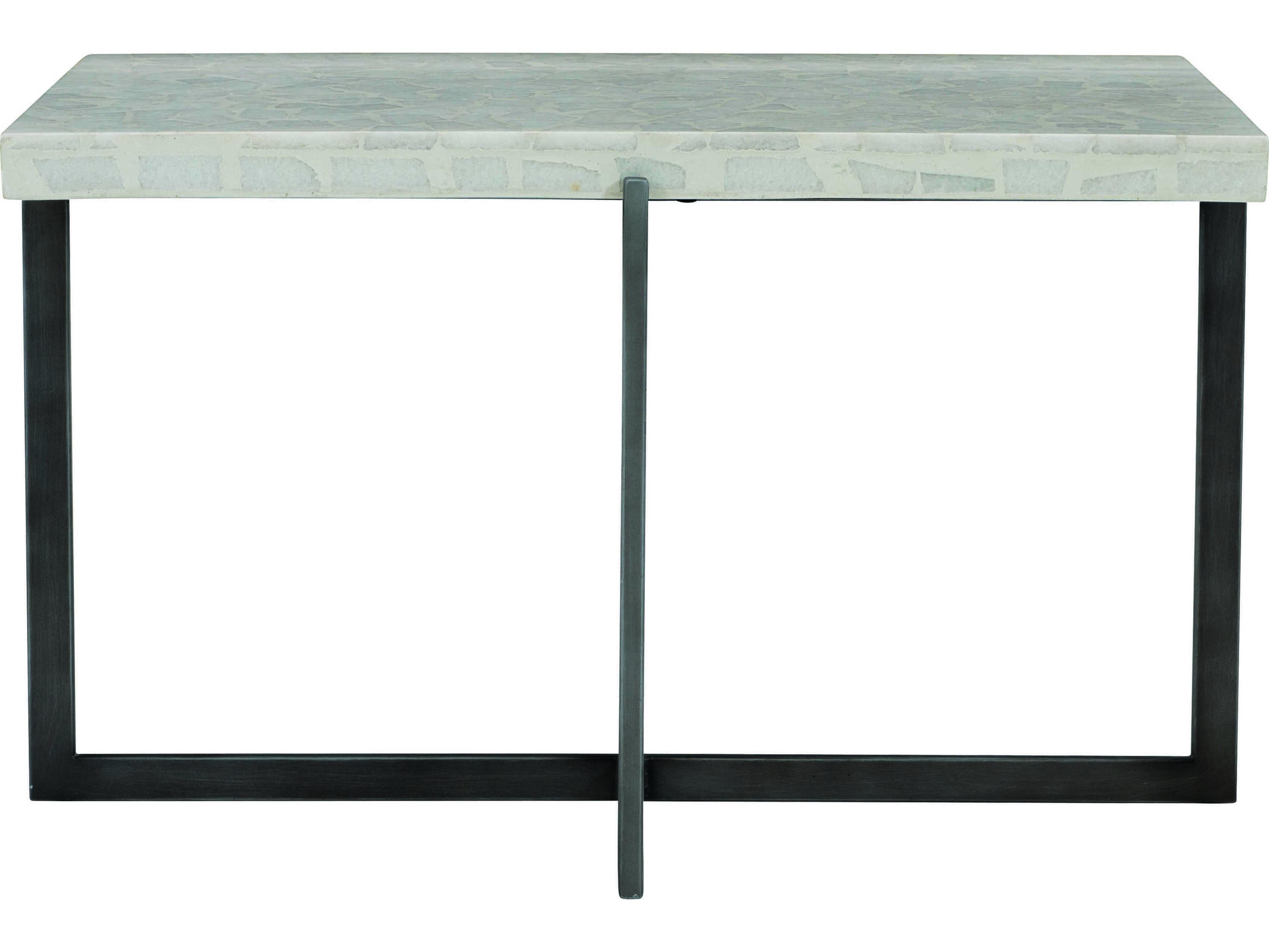 Bernhardt Exteriors Flint Gray Terrazzo 31 Wide Rectangular Faux Stone Steel Stillwater Coffee Table Bhex01010
