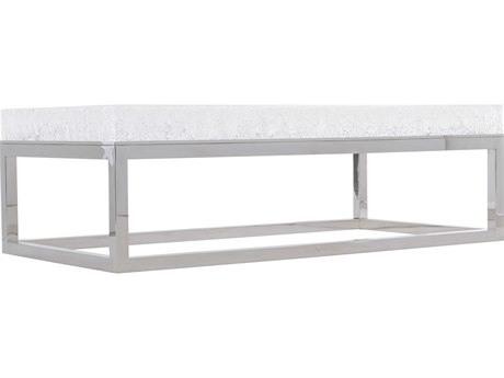 Polished Stainless Steel / Clear 55'' Wide Rectangular Coffee Table