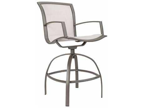 Brown Jordan Wave Padded Sling Aluminum Swivel Bar Chair
