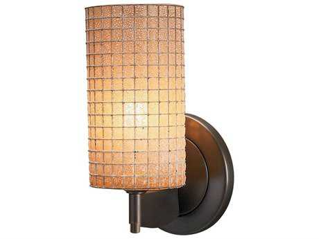 Bruck Lighting Sierra Amber Glass with Wire Mesh Wall Sconce