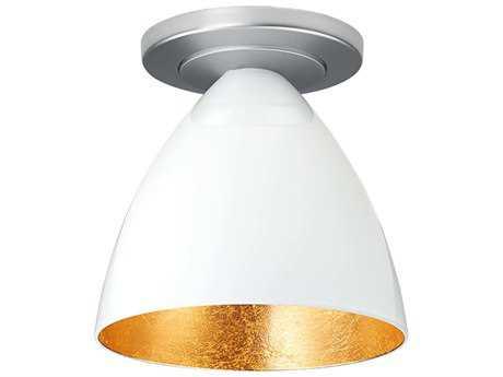 Bruck Lighting Cleo White Outer & Gold Inner Glass 6'' Wide Semi Flush Mount Light