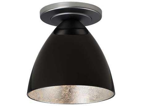 Bruck Lighting Cleo Black Outer & Silver Inner Glass 6'' Wide Semi Flush Mount Light