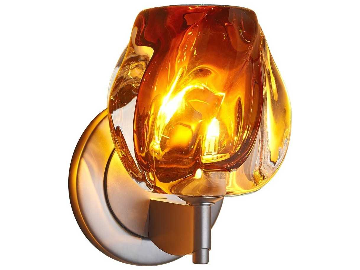 Bistro Globe Bath Sconce 4 Light: Bruck Lighting Aurora Amber Glass Halogen Wall Sconce