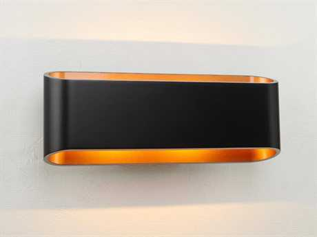 Bruck Lighting Eclipse Black Outer & Gold Inner LED Wall Sconce with Dimming Triac