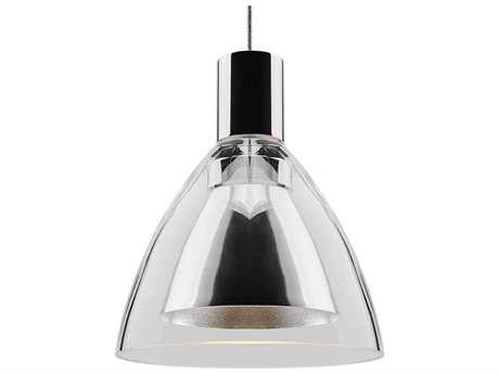 Bruck Lighting Canto Clear Outer & Metal Inner Glass 5'' Wide Halogen Mini Pendant Light