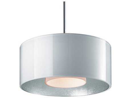 Bruck Lighting Cantara White Outer & Silver Inner, Opal Glass 7.5'' Wide Halogen Mini Pendant Light