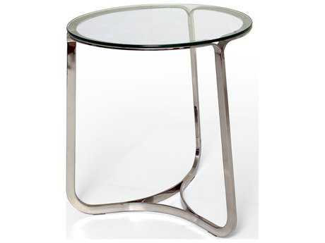 Bellini Blake Polished Stainless Steel 20'' Wide Round End Table