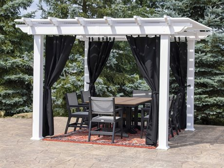 Berlin Gardens Bradford 12'' x 12'' Pergola with Curtain Rods and Curtains PatioLiving