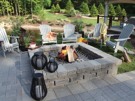 Berlin Gardens Comfo-Back Recycled Plastic Firepit Lounge Set PatioLiving
