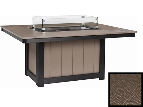 Berlin Gardens Donoma Recycled Plastic Hammered 54''W x 42''D Rectangular Fire Pit Table PatioLiving