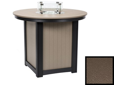 Berlin Gardens Donoma Recycled Plastic Hammered 44''Wide Round Counter Height Fire Pit Table PatioLiving