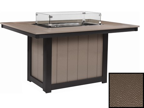 Berlin Gardens Donoma Recycled Plastic Hammered 54''W x 42''D Rectangular Dining Height Fire Pit Table PatioLiving