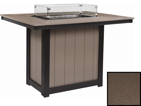 Berlin Gardens Donoma Recycled Plastic Hammered 54''W x 42''D Rectangular Bar Height Fire Pit Table PatioLiving