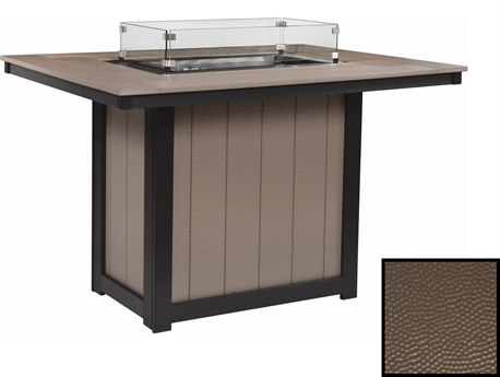 Berlin Gardens Donoma Hammered 54''W x 42''D Rectangular Counter Height Fire Pit Table PatioLiving