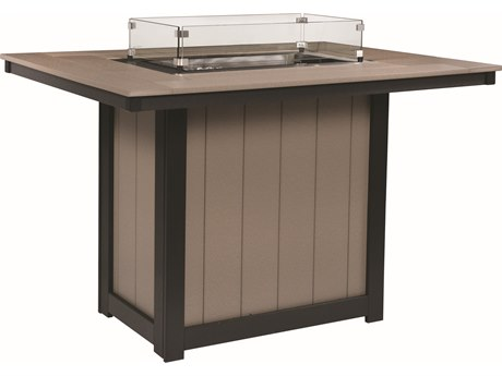 Berlin Gardens Donoma Recycled Plastic 54''W x 42''D Rectangular Bar Height Fire Pit Table PatioLiving