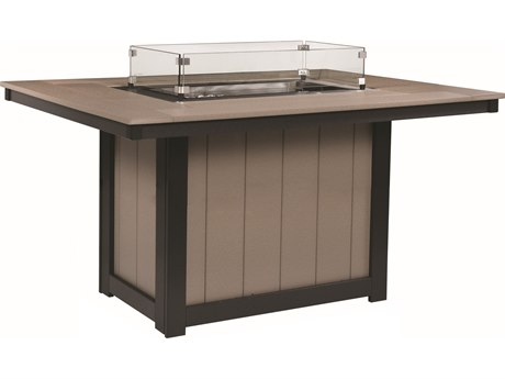 Berlin Gardens Donoma Recycled Plastic 54''W x 42''D Rectangular Dining Height Fire Pit Table PatioLiving