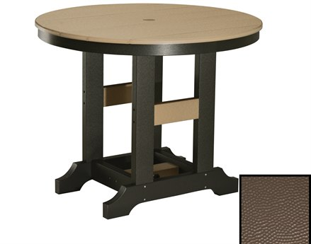 Berlin Gardens Garden Classic Recycled Plastic Hammered 30''Wide Round Bar Height Table with Umbrella Hole PatioLiving