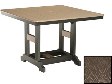 Berlin Gardens Garden Classic Recycled Plastic Hammered 44''Wide Square Dining Height Table with Umbrella Hole PatioLiving