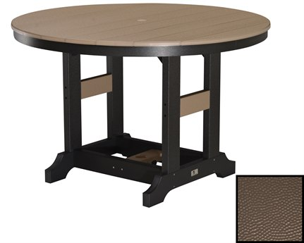 Berlin Gardens Garden Classic Recycled Plastic Hammered 48''Wide Round Bar Height Table with Umbrella Hole PatioLiving