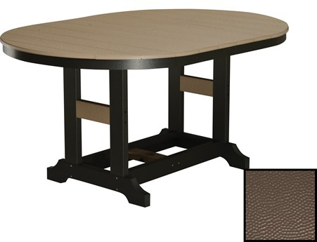 Berlin Gardens Garden Classic Recycled Plastic Hammered 64''W x 44''D Oval Dining Height Table PatioLiving
