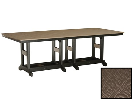Berlin Gardens Garden Classic Recycled Plastic Hammered 96''W x 44''D Rectangular Dining Height Table with Umbrella Hole PatioLiving