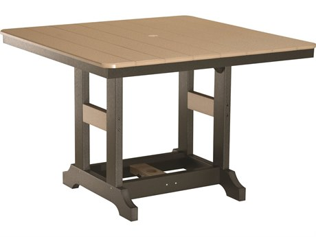 Berlin Gardens Garden Classic Recycled Plastic 44''Wide Square Bar Height Table with Umbrella Hole BLGGCLT0044B
