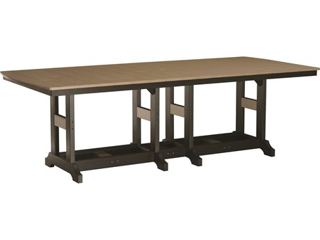 Berlin Gardens Garden Classic Recycled Plastic 96''W x 44''D Rectangular Counter Height Table with Umbrella Hole