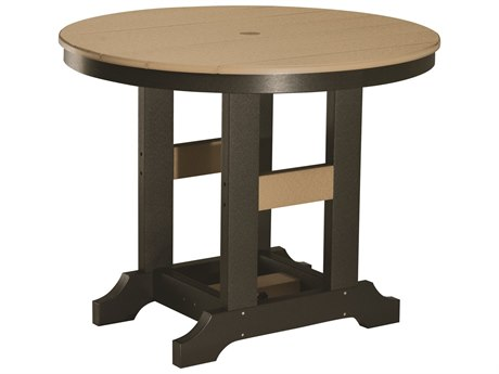 Berlin Gardens Garden Classic Recycled Plastic 38''Wide Round Bar Height Table with Umbrella Hole