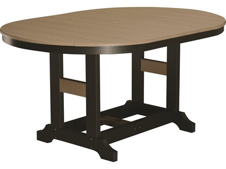 Berlin Gardens Garden Classic Recycled Plastic 64''W x 44''D Oval Bar Height Table with Umbrella Hole