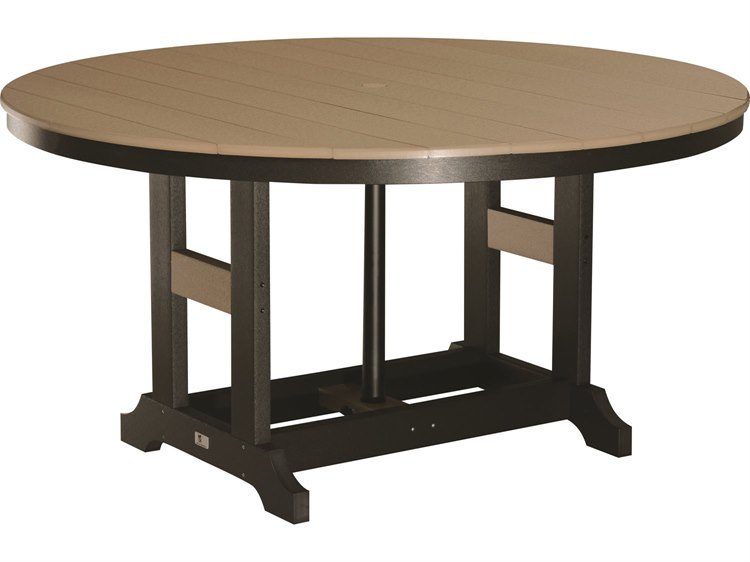 Berlin Gardens Garden Classic Recycled Plastic 60''Wide Round Bar Height Table with Umbrella Hole PatioLiving