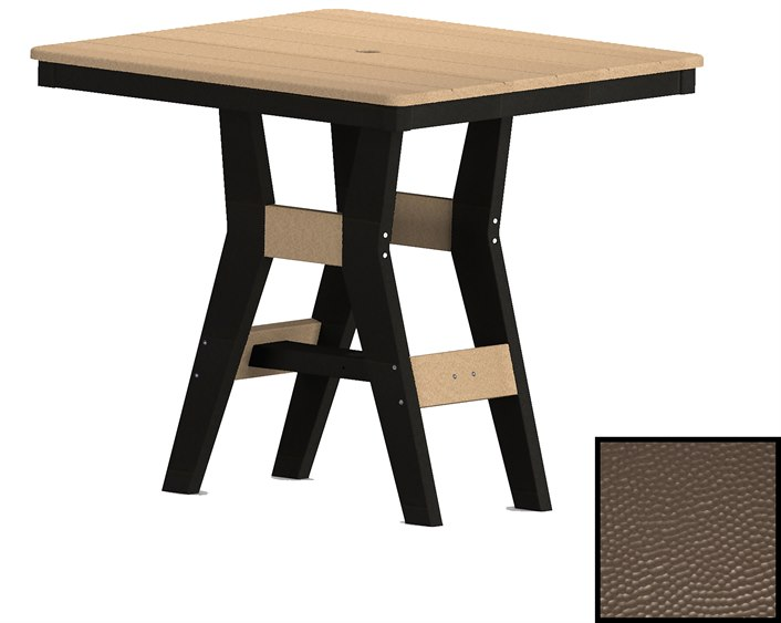Berlin Gardens Harbor Recycled Plastic Hammered 33 Wide Square Dining Height Table With Umbrella Hole Blghhft0033d