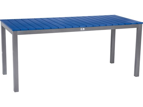 Berlin Gardens Pax Poly Aluminum 70''W x 30''D Rectangular Dining Table with Umbrella Hole PatioLiving