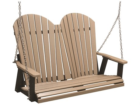 Berlin Gardens Comfo-Back Recycled Plastic Double Swing in Stainless Steel Chains BLGPCTS4800SS