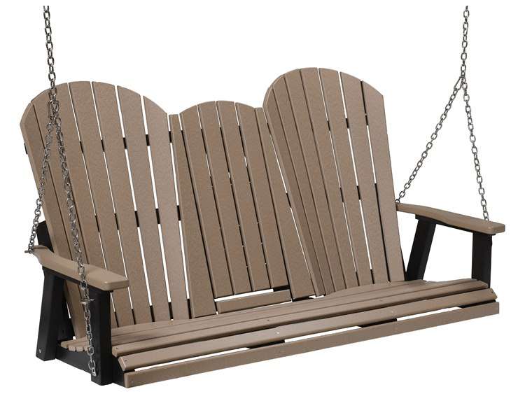 Berlin Gardens Comfo-back Recycled Plastic Three Seat Swing in Stainless Steel Chains